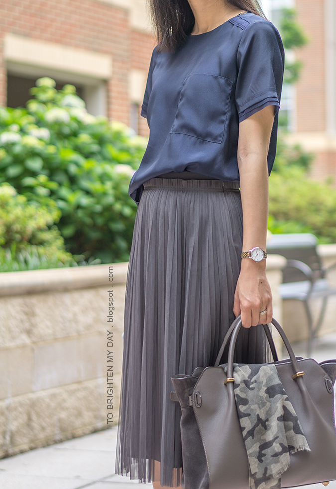 navy silky top, two-tone watch, dark gray tulle midi skirt, camo printed scarf, gray suede tote