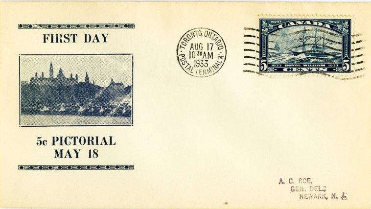 Canada - Scott #904 (1933) first day cover, postmarked Toronto, Ontario; backstamped August 18, 1933 at Newark, N.J.