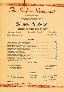 Sea Fare menu