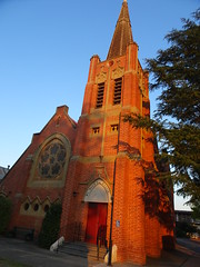 Albury. The tower and entrance to the red brick Presbyterian Church built in 1905. Became a  Uniting Church in 1977.