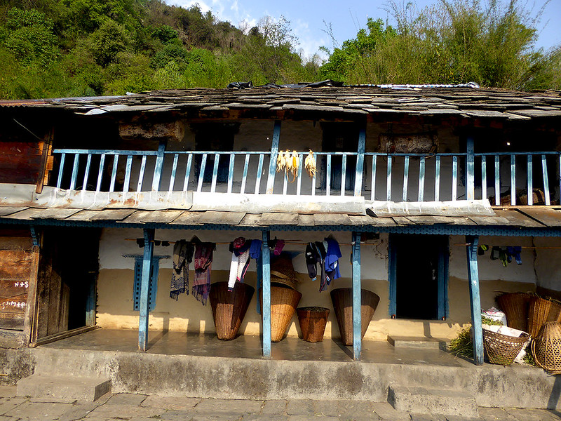 View of a typical tea house, or basic Nepalese hotel accommodation along the Himalayan tekking trails