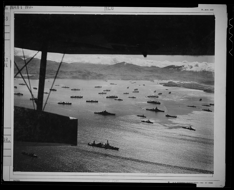 Part of the huge U.S. fleet at anchor in Adak Harbor, Alaska, in August 1943, ready to move against Kiska.