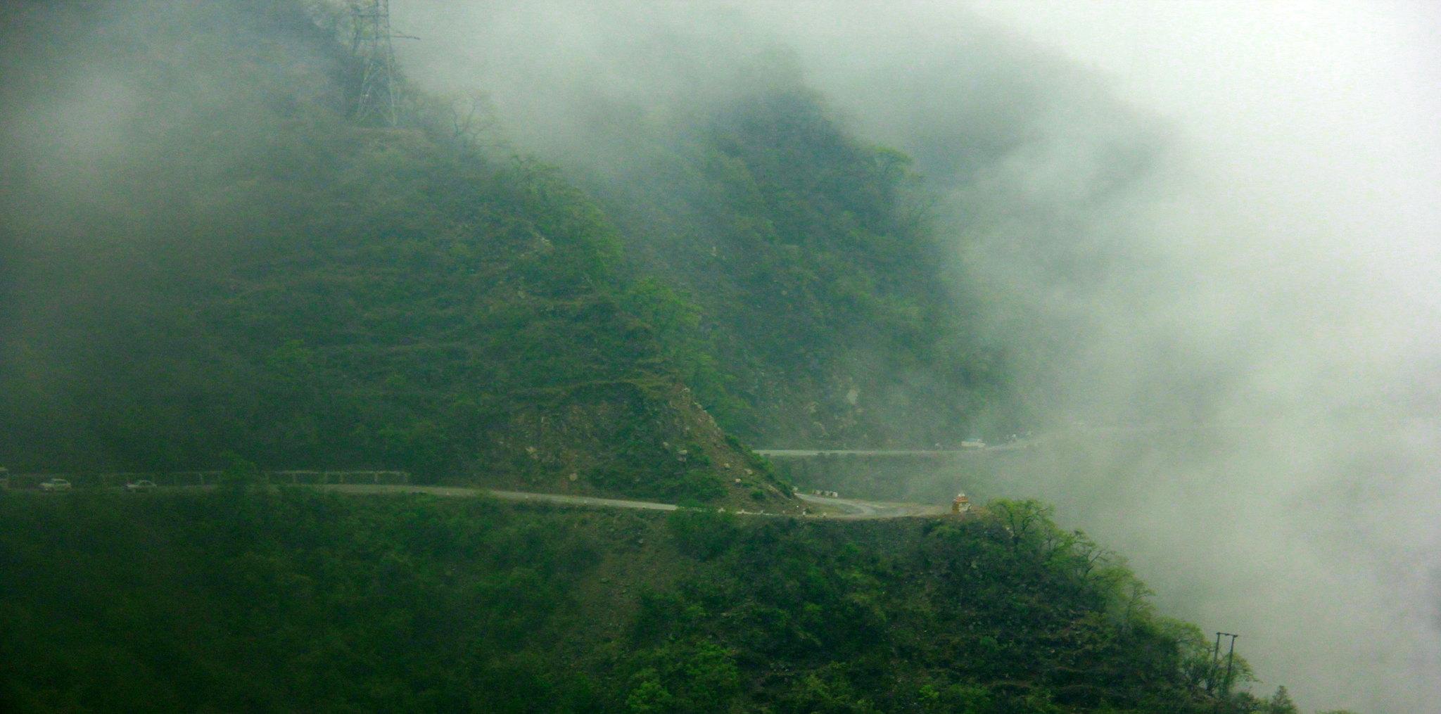 Winding mountains roads leading past uttarakhand prayags
