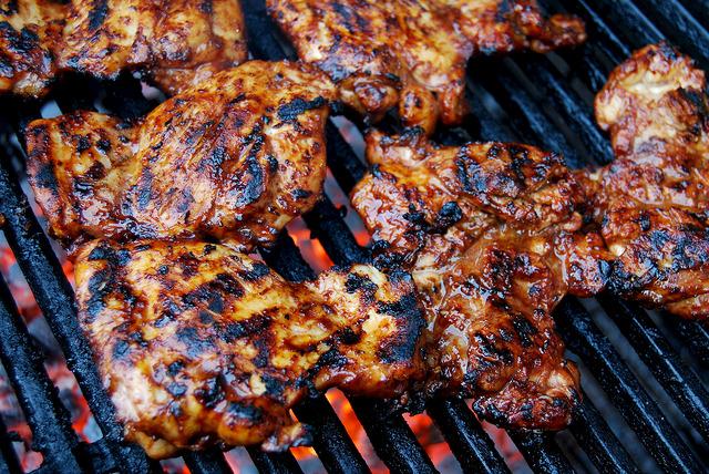 Skinny Sticky Storecupboard Barbecue Chicken #chicken #chickenthighs #barbecue #grilling #marinade