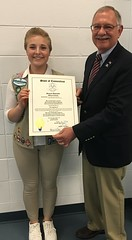 Rep. Simanski presenting Gold Award recipient, Rachael Abrahamson, with a Legislative Citation.