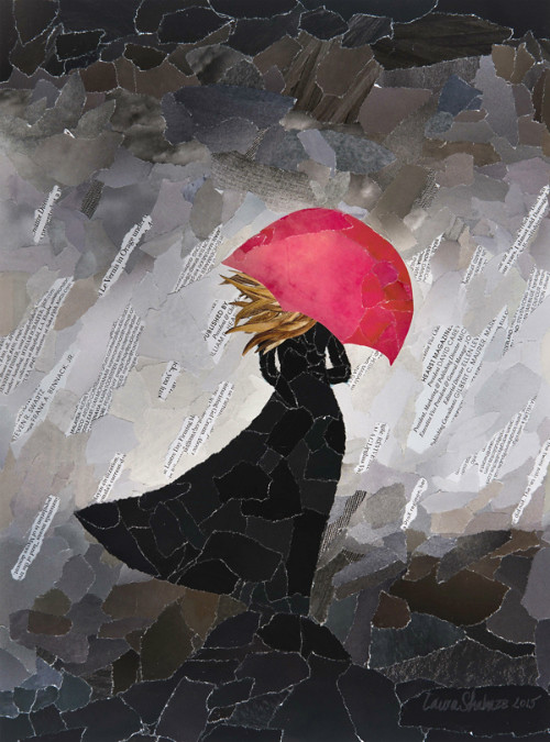 torn paper collage - Red Umbrella by Laura Shabazz