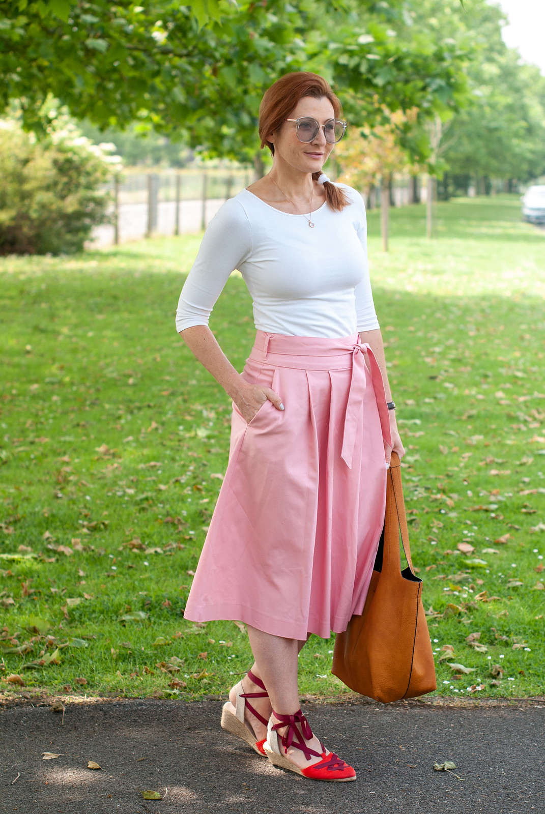 Simple summer weekend outfit: a t-shirt and flared midi skirt with espadrilles | Not Dressed As Lamb, over 40 style