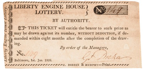 1809 Liberty Engine House Baltimore lottery ticket
