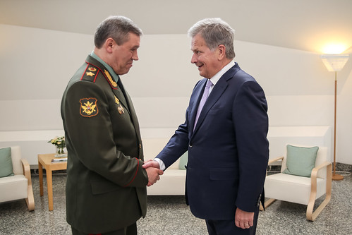 President Sauli Niinistö met with Chief of the General Staff of the Armed Forces of Russia General of the Army Valery Gerasimov in Mäntyniemi, Finland, on 8 June 2018.