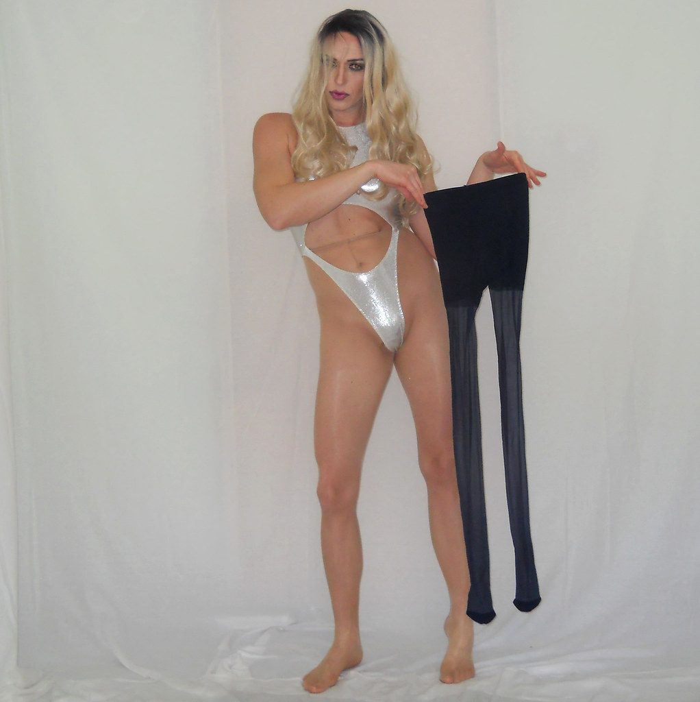 Shemale sissy in pantyhose nylon of sounding urethral fetish cock toy 2