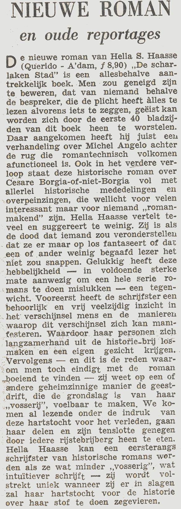 NieuweRomanEnOudeReportagesKrantOnbekendSchrijverOnbekendBoekDeScharlakenStad1952