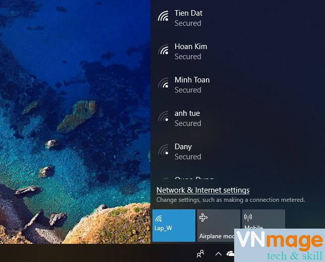 xóa kết nối Wifi trên Windows 10