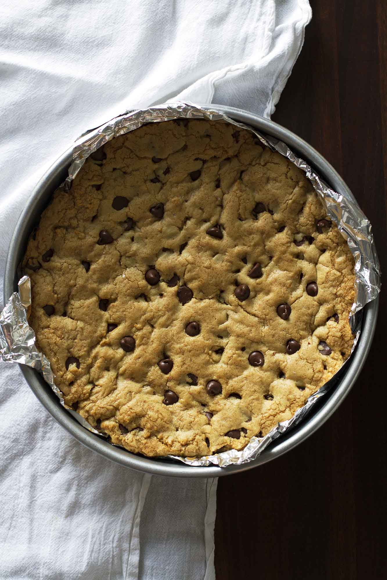 One Giant Soft and Chewy Chocolate Chip Cookie | girlversusdough.com @girlversusdough