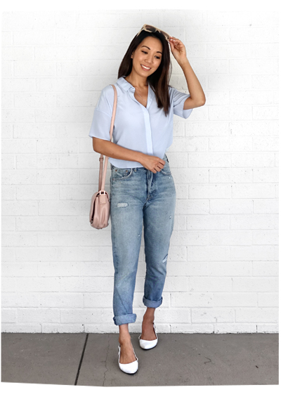 Grana Blue Silk Top Worn Two Ways ​