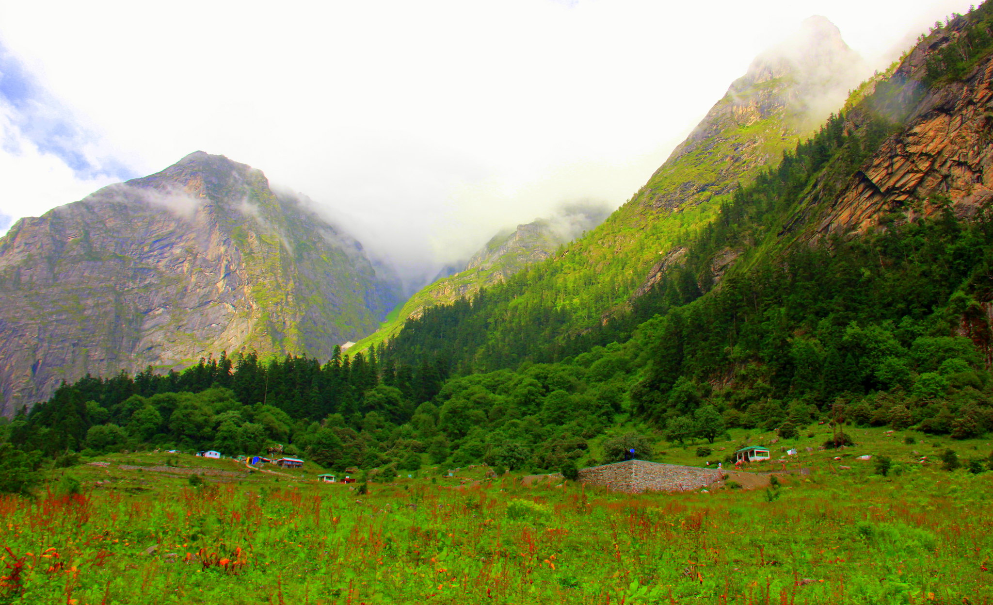 One can see many valleys and glaciers in the valley of flowers trek