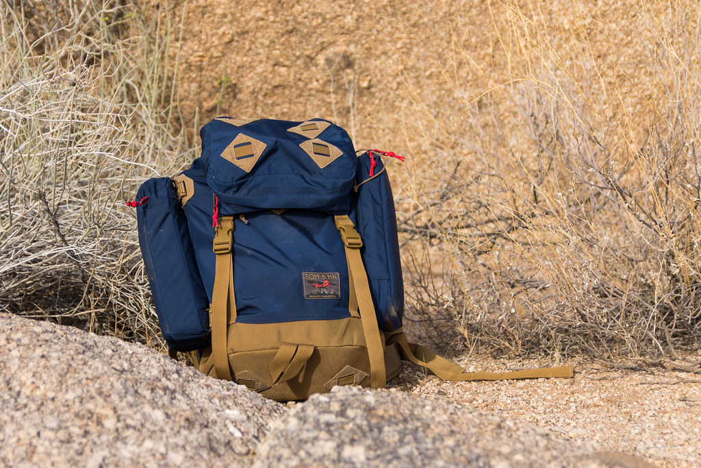 A dusty Tom Bihn Guide's pack at Brown's Ranch in the McDowell Sonoran Preserve