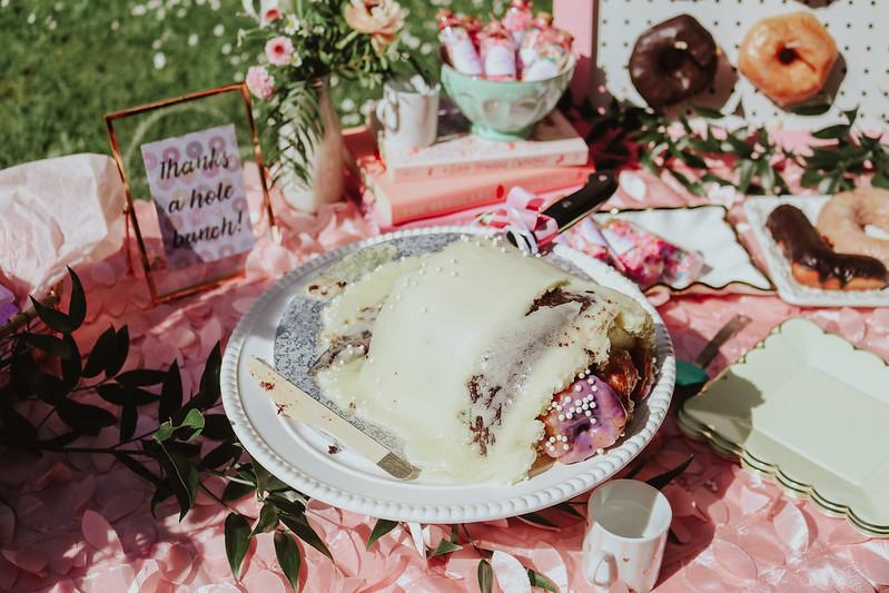 Donut themed bridal shower - donut cake