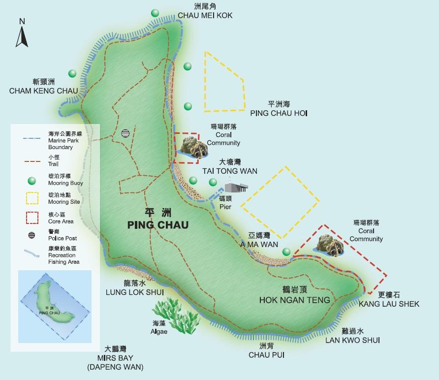 Map of Tun Ping Chau, Hong Kong SAR