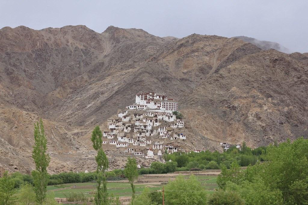A complex of Buddhist monasteries en route Pangong Tso, Chemrey, Ladakh, India