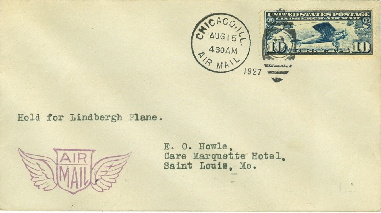 Cover flown on the Chicago to St. Louis leg of Lindbergh's Goodwill Tour on August 15, 1927.