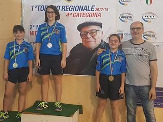 Il podio della fase regionale femminile del Trofeo Coni