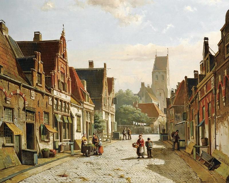 Willem Koekkoek - A Dutch street in summer