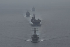 USS Essex (LHD 2), USS Rushmore (LSD 47) and USS Anchorage (LPD 23), accompanied by  USS Decatur (DDG 73), conduct a simulated strait transit during COMPTUEX, June 4. (U.S. Marine Corps/Cpl. Austin Mealy)