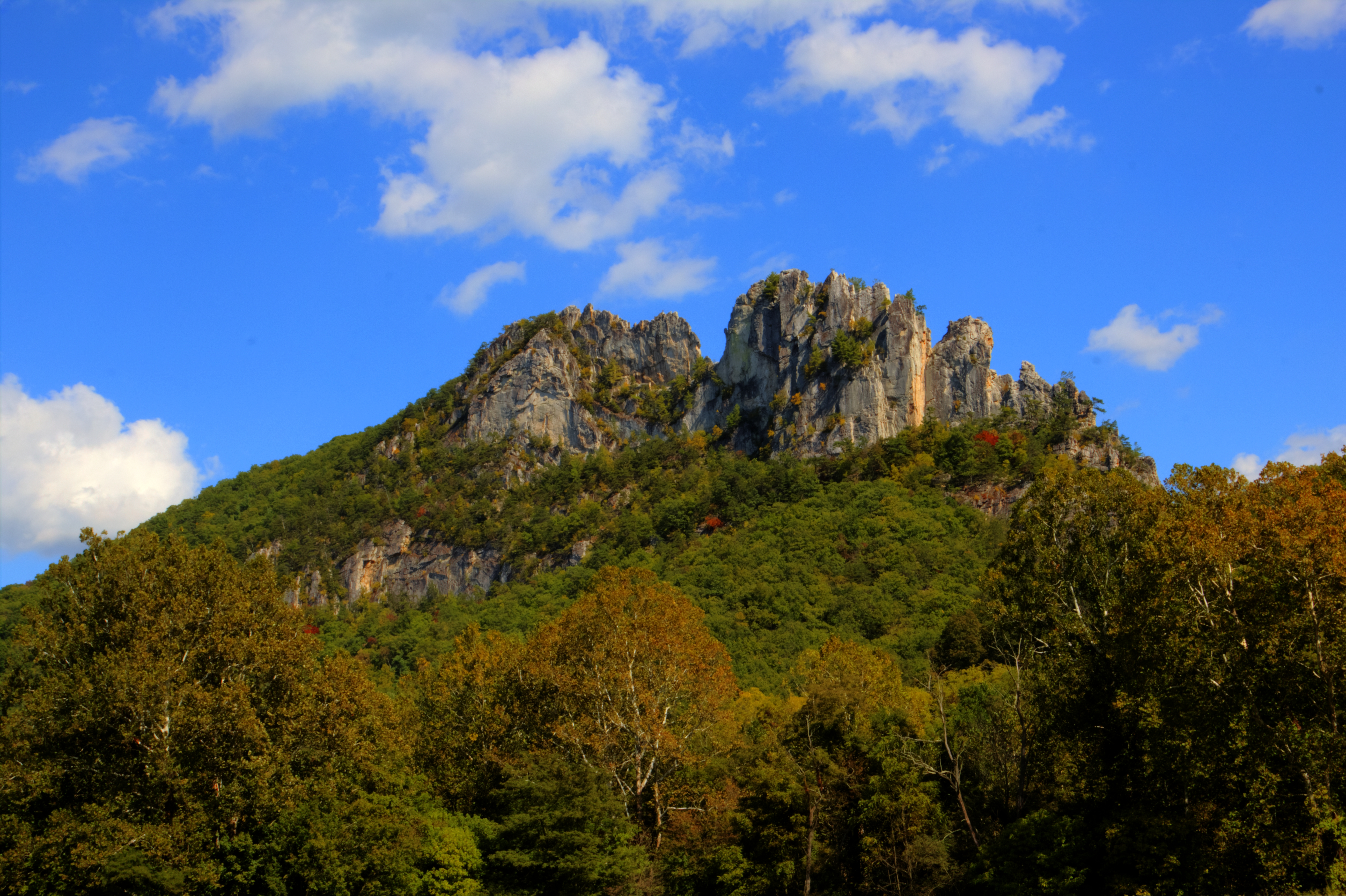 Seneca Rocks, Pendleton County, West Virginia. Photo taken on September 27, 2013. The image was created by merging seven different exposures with Photomatrix Pro software.