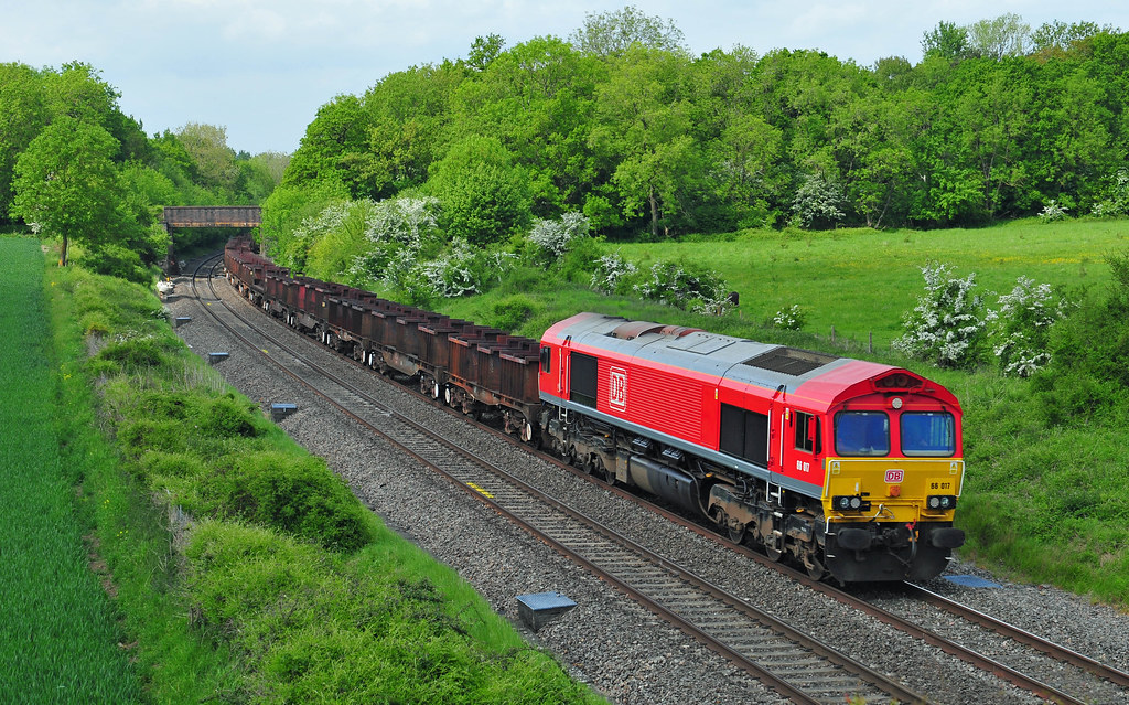 66017 seen at Besford working the 6V92 Corby to Margam steel train on 18-5-18. Copyright Ian Cuthbertson