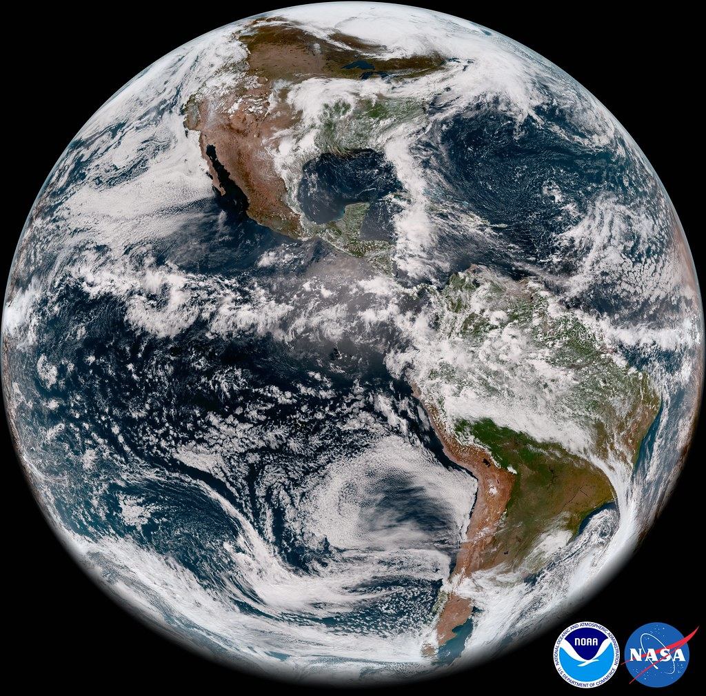 GOES-17's Advanced Baseline Imager captured this view of Earth's Western Hemisphere from its checkout position (89.5ºW) at 12:00 p.m. EDT, May 20, 2018.