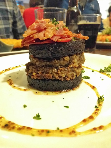 black pudding + haggis topped with bacon
