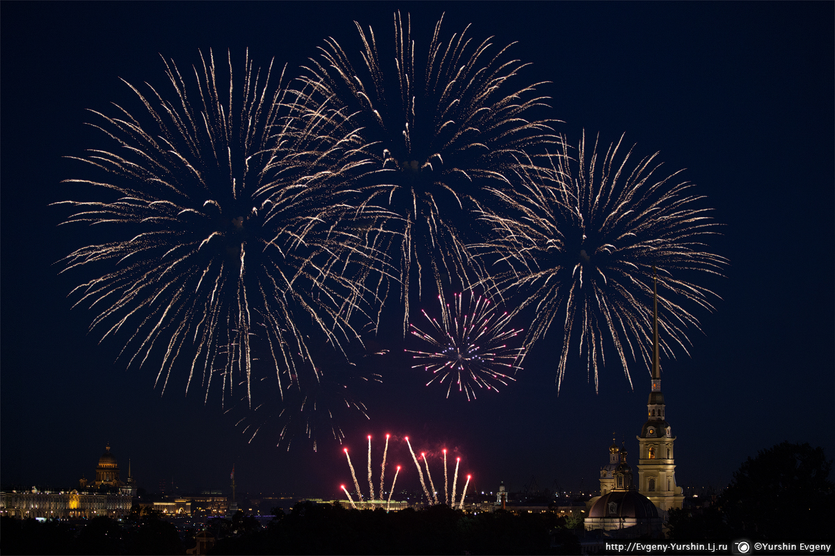 fireworks for birthday of St. Petersburg