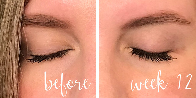 before and week 12 lashes with mascara