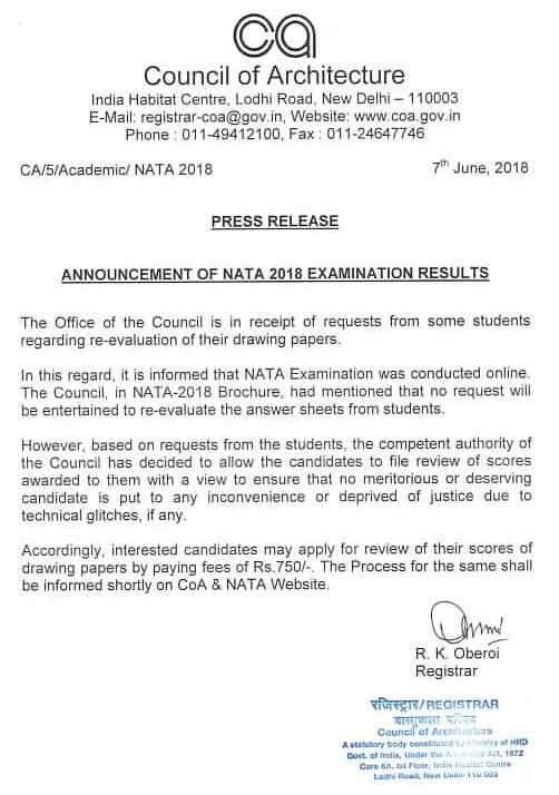 NATA accpts review of drawing paper