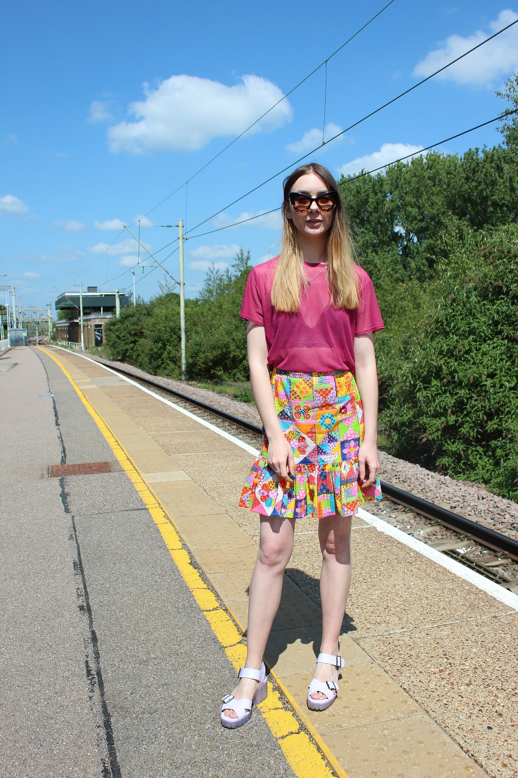 Sheer top and a braletter with a patchwork vintage skirt 7