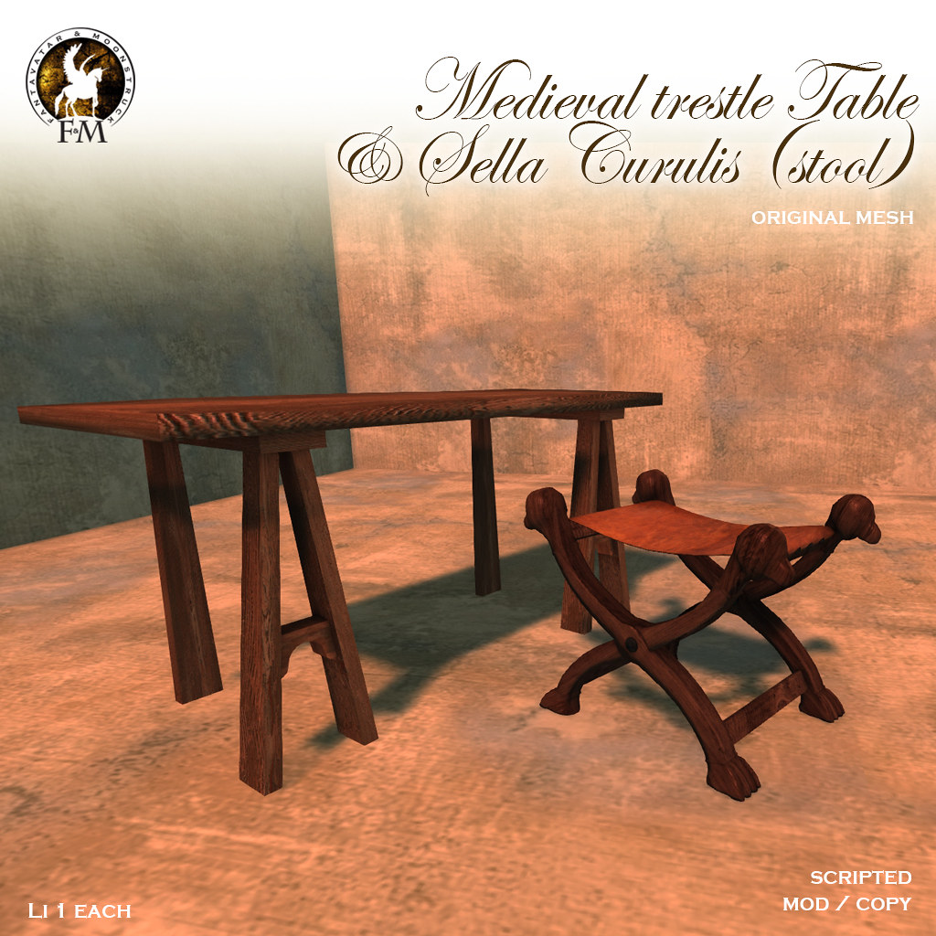 F&M * Medieval Trestle Table and Sella Curulis - TeleportHub.com Live!