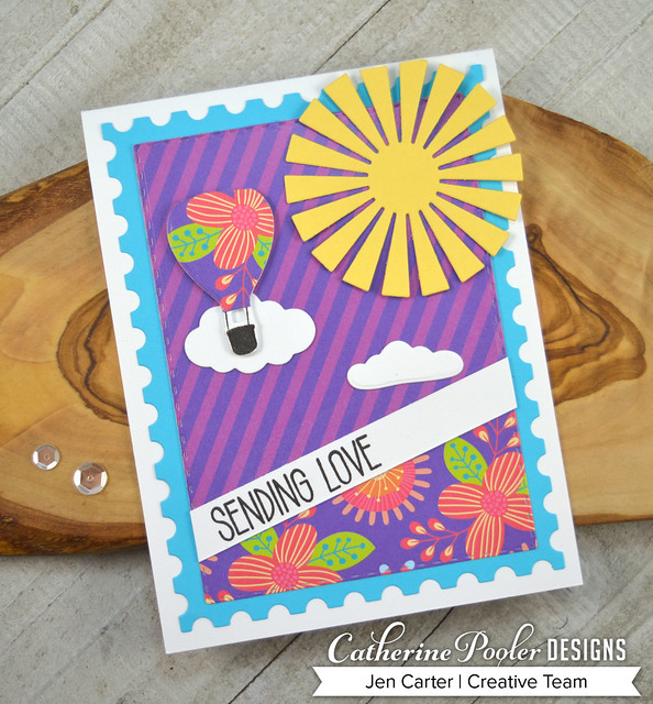 Jen Carter CP Love is in the Air Sunburst Postage Paisley Peacocks