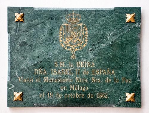 Placa conmemorando visita de Isabel II (1862)