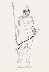 Greek warrior from An illustration of the Egyptian, Grecian and Roman costumes by Thomas Baxter (1782-1821).Digitally enhanced by rawpixel.