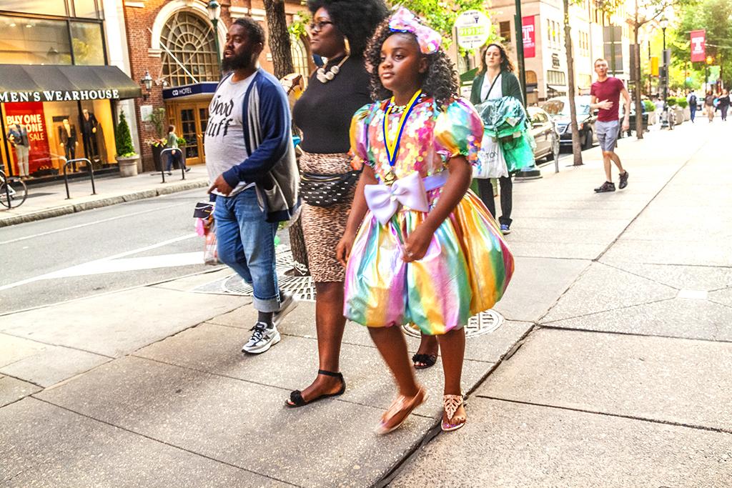 Girl in multi-colored dress on Chesnut Street--Center City