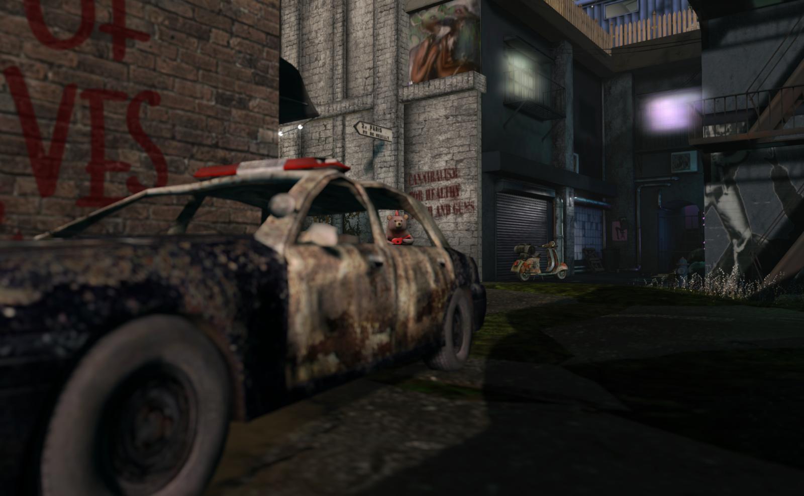 Post-apocalyptic urban scene in Dystopia