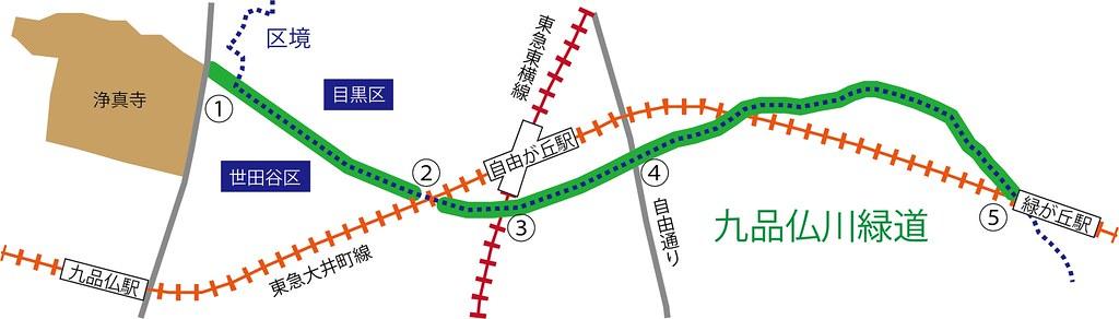 九品仏川緑道_地図