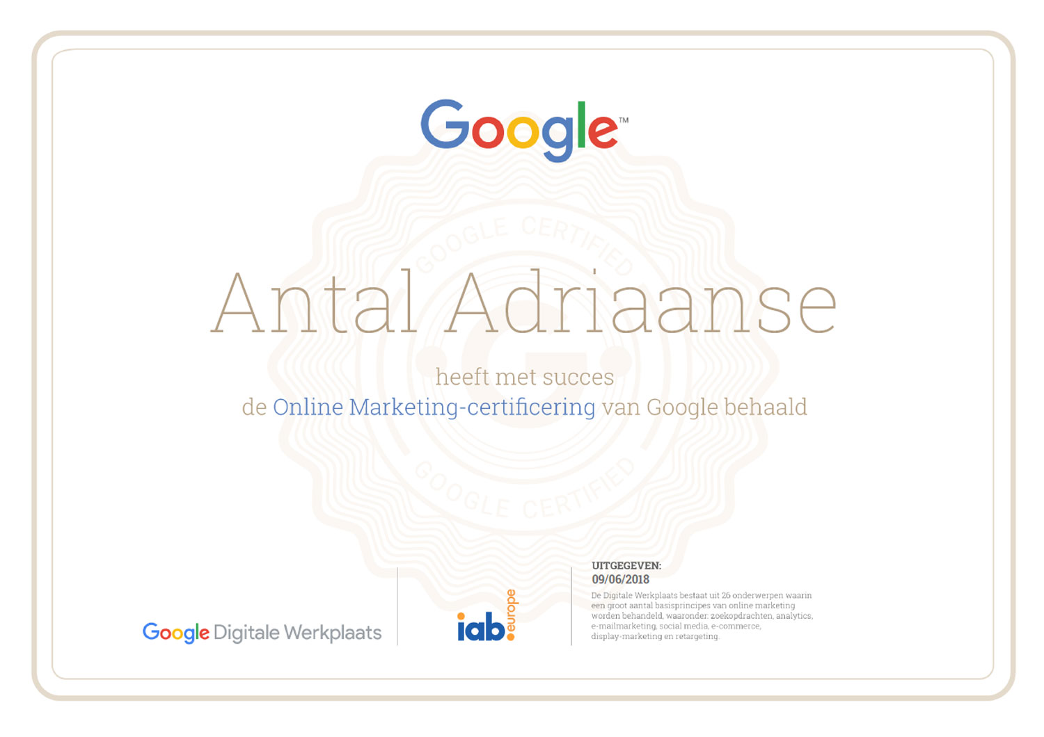 09/06/2018 Google Online Marketing cursus
