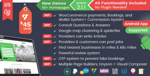 Listingo v3.1.9 - Service Providers, Business Finder and Directory Listing Booking WordPress Theme