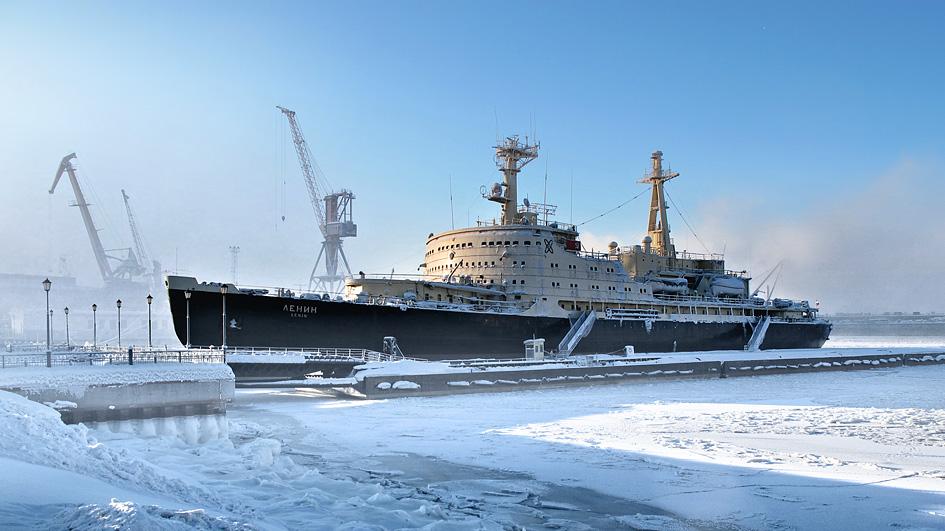 Russian icebreaker Lenin in Murmansk. Photo taken on February 19, 2011.