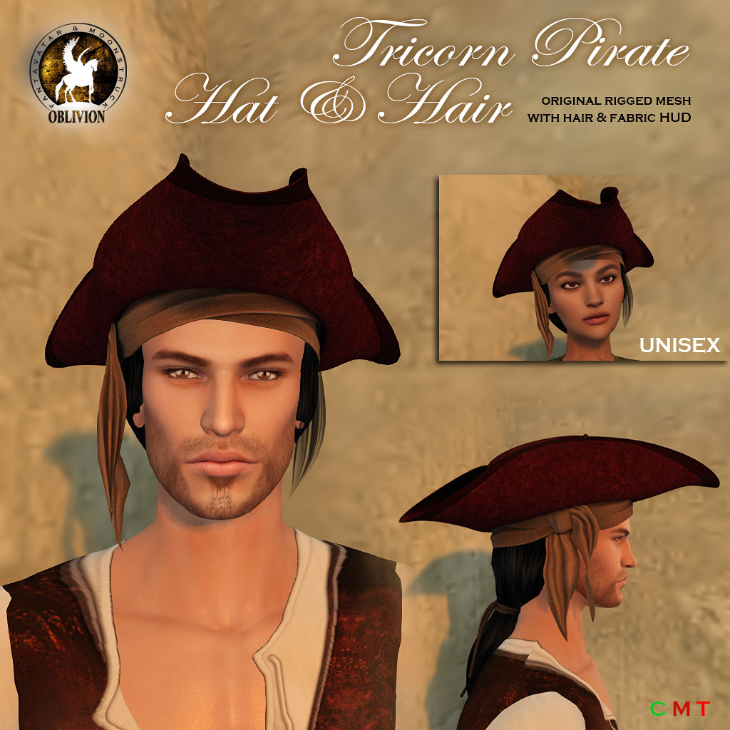 F&M Oblivion * Tricorn Pirate Hat & Hair - TeleportHub.com Live!