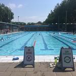 London Fields lido at swim finish