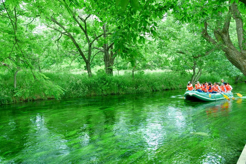 信州安曇野大王わさび農場の蓼川での安曇野汽船のクリアボート漕ぎの写真