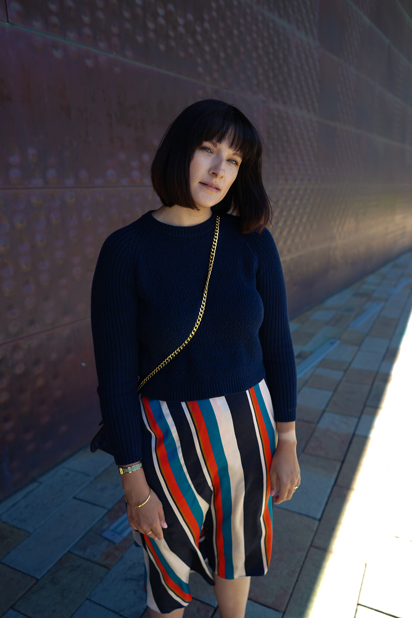 Zara, Midi skirt, stripes, high street fashion, postpartum, mom style, San Francisco, mom life