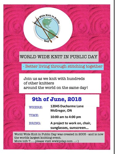 Sue2Knits KIP - World Wide Knit in Public Day 2018. Mark your calendar and join in the fun!